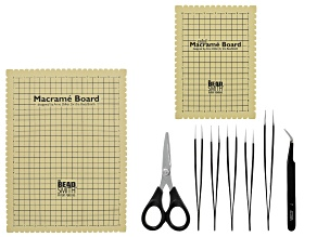 Macrame Tool Kit with 2 Boards, Scissors and Set of 6 Tweezers