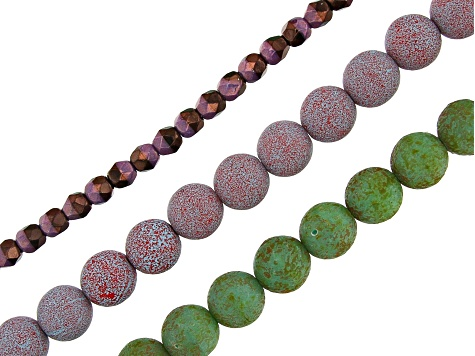 Czech Lava Bead Set with Flex-Rite, Crimps & Spacer Beads