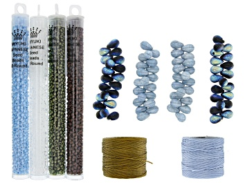 Picture of Czech Glass Lava Bead Set with Seed Beads and Nylon Thread