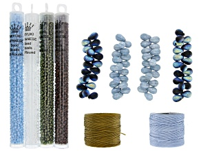 Czech Glass Lava Bead Set with Seed Beads and Nylon Thread