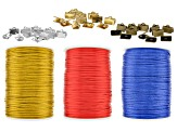 Knotting Satin Cord Supply Set in Vibrant Colorway with Assorted Cords appx 2mm appx 144yd & Crimps