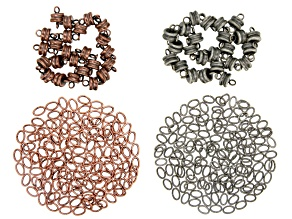 Magnetic Clasps and Oval Jump Rings in Antique Silver & Copper Tone Appx 336 Pieces Total