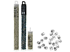 Varidi Cymbal Super Duo Beads in Antique Silver Tone and Assorted Seed Beads in 3 Styles