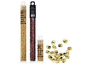 Varidi Cymbal Super Duo Beads in 24K Gold Over Brass and Assorted Seed Beads in 3 Styles