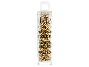 24K Gold Over Brass 15/0 Seed Beads Appx 15 Gram Tube