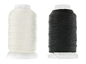 Silk Beading Cord Size FFF 1/2 OZ Spool Set of 2 in Black and White Appx 92 Yards Each