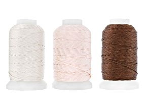 Silk Beading Cord Size FFF 1/2 OZ Spool Set of 3 in Chestnut, Ecru, and Pink Appx 92 Yards Each