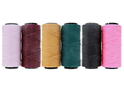 Knot-It Brazilian Waxed Tex 480 2-Ply Polyester Cord Set of 6 Spools each appx 144 Meters in Length
