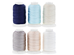 Silk Beading Cord Set of 6 Size FFF .50oz Spool in Assorted Colors 92YD each