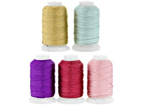 Silk Beading Cord Set of 5 Size FFF .50oz Spool in Assorted Colors 92YD each