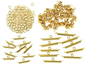 Miyuki Slide Tube Gold Tone in Assorted Sizes with Jump Rings & Magnetic Clasps Kit