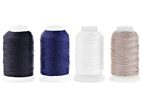 Silk Beading Cord Set of 4 Size FFF .50oz Spool in White, Black, Gray, & Navy 92YD each