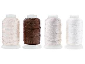 Silk Beading Cord Set of 4 Size FFF .50oz Spool in Ecru, Chestnut, White, & Pink 92YD each