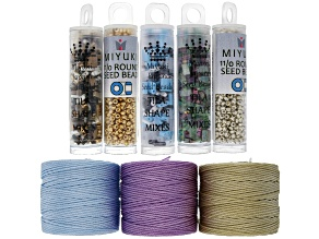 Tila Shape Beads in 3 Colors, S-Lon Cord appx 77yd Spools in 3 Colors, & 11/0 Seed Beads in 2 Tones