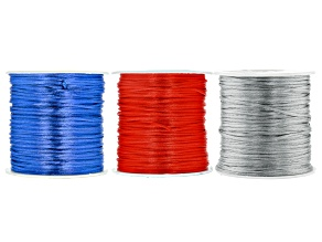 Satin Cord appx 1mm Set of 3 in Dark Grey, Red, and Royal Blue appx 72yd per Spool