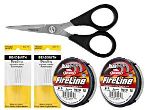 Fireline in Smoke Grey Appx 100yd, Laser Scissors, & 8 Beading Needles