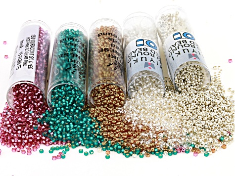 15/0 Glass Seed Bead Kit in 5 Assorted Colors