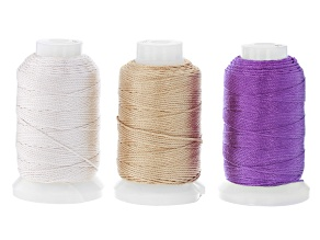 Silk Beading Cord Set of 3 Size FFF .50oz Spool in Ecru, Gold Color, and Plum Appx 92YD each