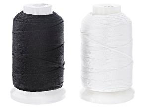 Silk Beading Cord Set of 2 Size FFF .50oz Spool in White & Black Appx 92YD each
