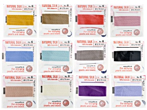 Griffin Silk Cord in Size 6 in Assorted Colors Appx 24 Meters Total with Needle Attached