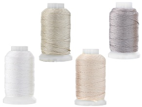 Silk in Size FFF 1/2oz Spool Set of 4 in White, Gray, Ecru, and Pink Appx 368 Yards Total