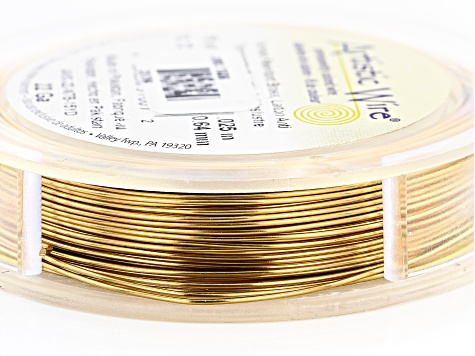 Brass Tone 22 Gauge Round Wire Appx 15 Yards Total