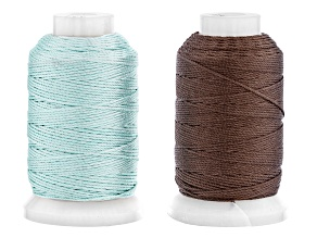 Silk Cord in Size FFF Appx 0.5oz Spool Set of 2 in Turquoise and Chestnut Appx 92 Yards Each Color