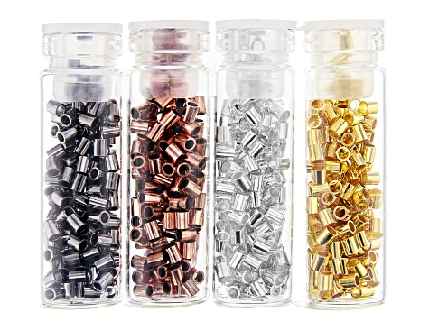 Crimp Tube Bead Kit in Appx 0.8mm, 1.3mm, 1.5mm, and 2mm in 4 Tones Appx 2,400 Pieces Total