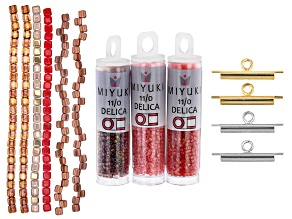 Burnt Umber Colorway 3 Miyuki Delica Seed Bead Tubes, 6 Bead Strands & 4 Metal Slide Tubes Kit