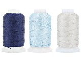 Silk in Size FFF 1/2oz Spool Set of 3 in Ecru, Navy, and Turquoise Appx 276 Yards Total