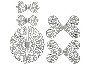 Filigree Clasp Set of 5 in Silver Tone in 3 Styles