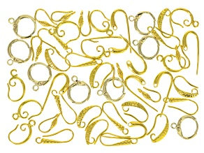 Earring Component Set of 48 pieces in Gold Tone