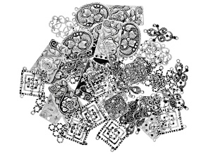 Focal Connector Set in 7 Styles in Antique Silver Tone 50 pieces total