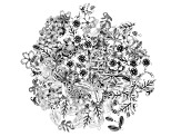 Component Set of Floral & Leaves in 7 Styles in Antique Silver Tone 120 pieces
