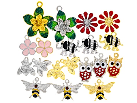 Multi-Style Enamel Nature Charm set of 19 in gold tone and silver tone plating