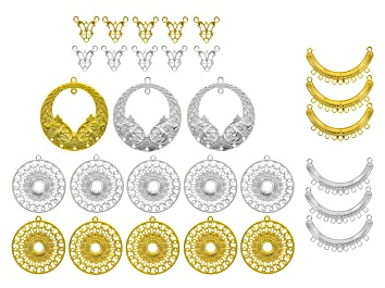 Picture of Pendant Accessory Set of 29 in Silver Tone & Gold Tone & assorted styles & sizes