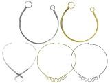 Necklace Wire set of 5 in assorted styles in silver tone and gold tone
