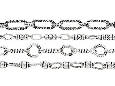 Unfinished Chain Set of 4 in Antique Silver Tone appx. 18
