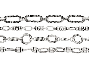 Unfinished Chain Set of 4 in Antiqued Silver Tone appx. 18