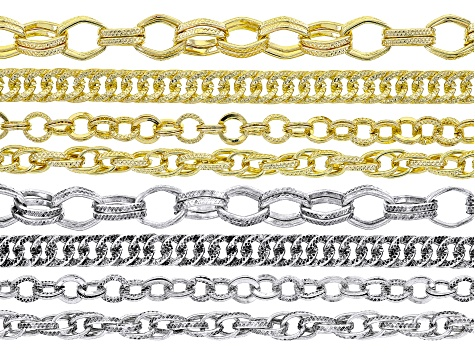 Unfinished Chain Set of 8 in 4 styles in Silver Tone & Gold Tone APPX. 30