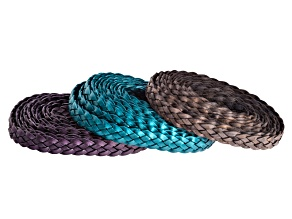 Jewel Mix 5 Ply 5x3mm Flat Braided Cord Kit in Metallic Berry, Metallic Trully Teal, Natural Grey