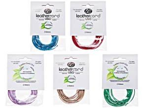 Spring Fashion Colors Round Leather Cord Kit incl 1.5mm Cord Sky Blue, Mint, Peach, Red, & Lilac