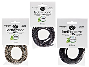 Braided Bolo Leather Cord Antique, 3mm Each,6m Total. incl: 2m Pks in Antiq Brown, Pacific, & Green