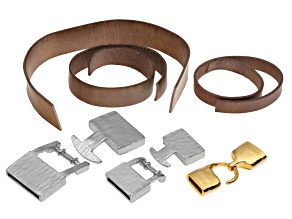 10mm, 15mm, & 20mm, 10 inches Ea, Leather Strap Distressed Cords & 1 Set End Caps Gold & Slvr Tn