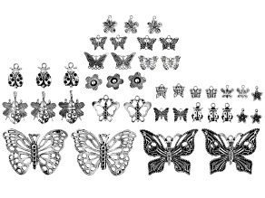 Butterfly, Flower, and Ladybug Focal & Charm Set in 17 Designs in Silver Tone 40 Pieces Total