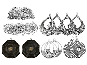 Picture of Moroccan Inspired Component Set of 18 in Antiqued Silver Tone & Antiqued Brass Tone