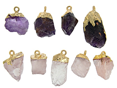 Raw Cut Amethyst & Rose Quartz Focal Set of 9 in Gold Tone
