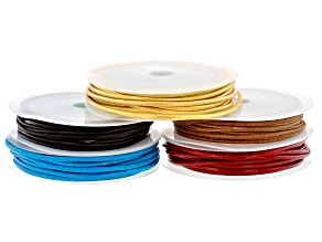 Leather Cord Kit includes Gold Color, Red, & Blue appx 2mm and Brown & Tan appx 1.5mm Appx 3m Each