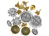 Assorted Component Set in Antiqued Gold Tone and Antiqued Silver Tone 16 Pieces Total