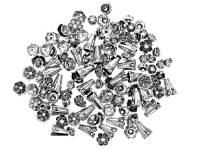 Floral Bead Cap Set in Silver Tone Appx 125 Pieces Total